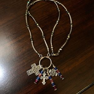 Sterling Silver Austrian Crystal Cross Necklace